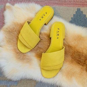 Zara Yellow Slide Sandals